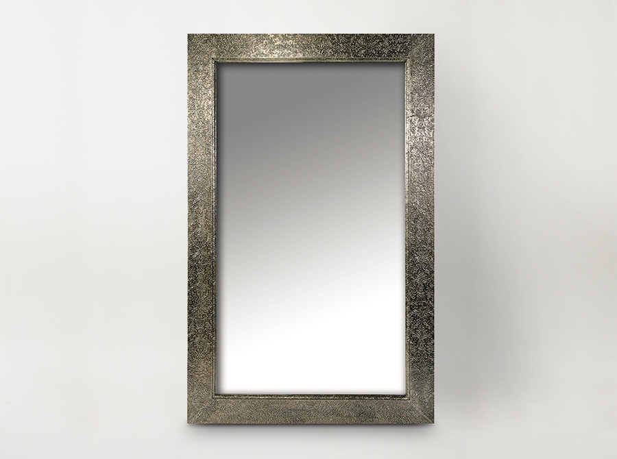Embossed Metal Frame Mirror - Large