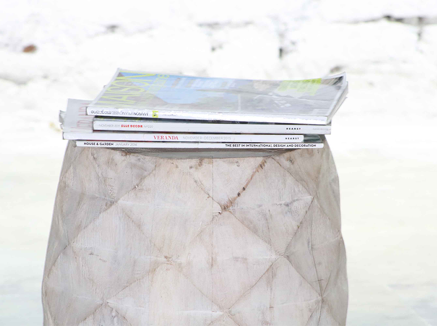 Zennor Diamond Relief Stool/Side Table