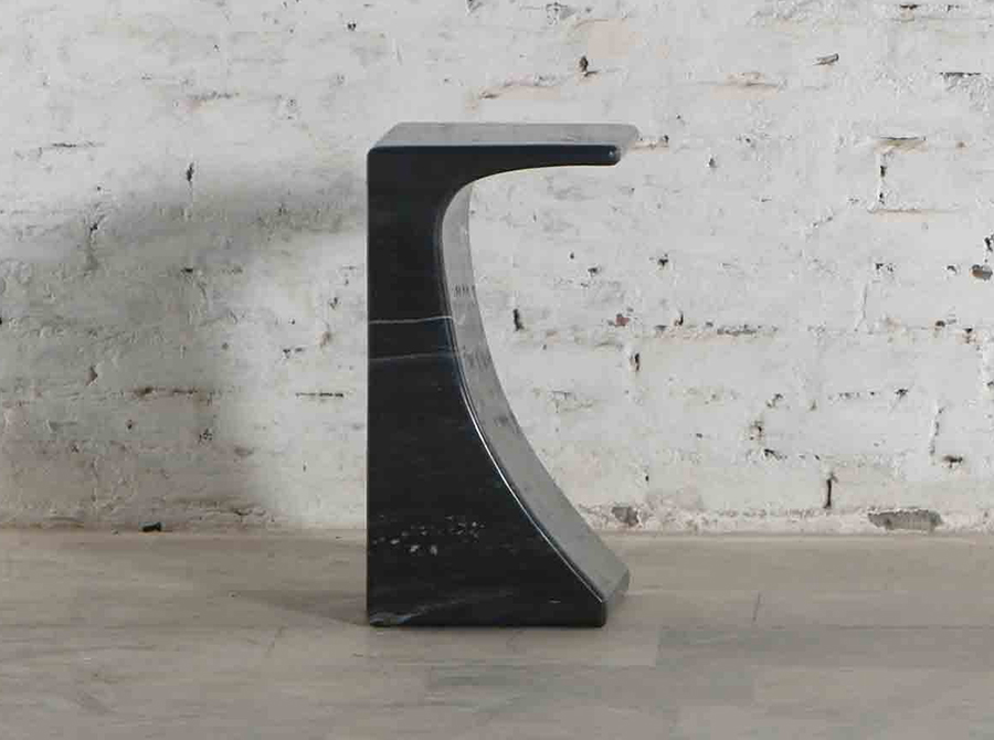 Corso Arcus Black Marble Side Table
