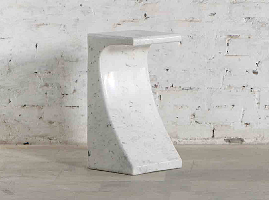 Corso Arcus White Marble Side Table