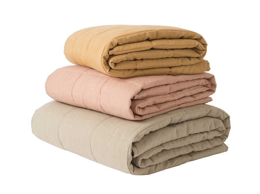 Washed Linen Quilted Blanket - COLOUR OPTIONS AVAILABLE
