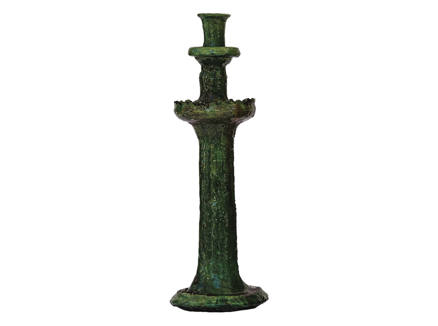 Moroccan green candle holder – large
