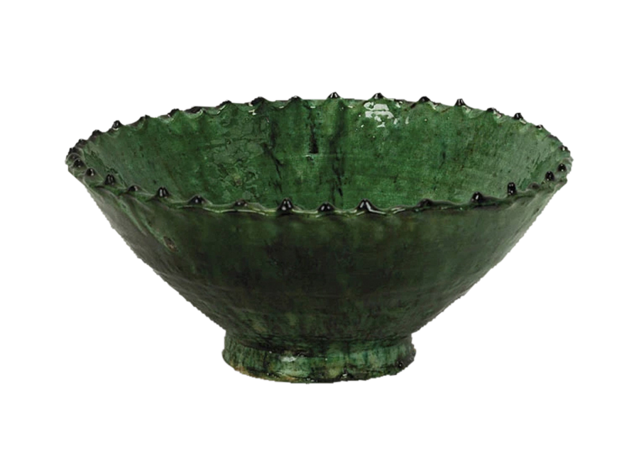 Moroccan green zigzag bowl – large