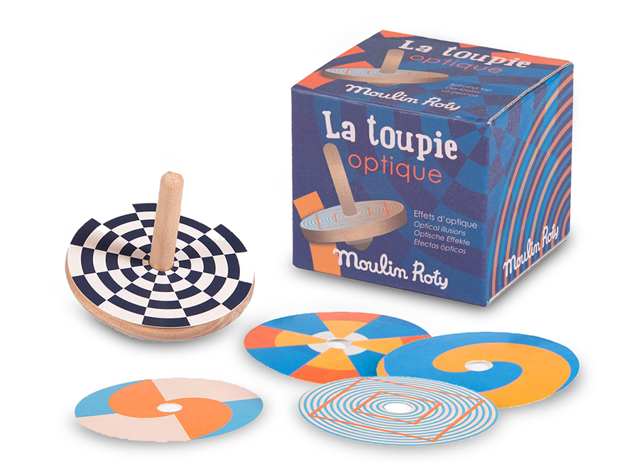 Moulin Roty Optical Illusion wooden spinning top