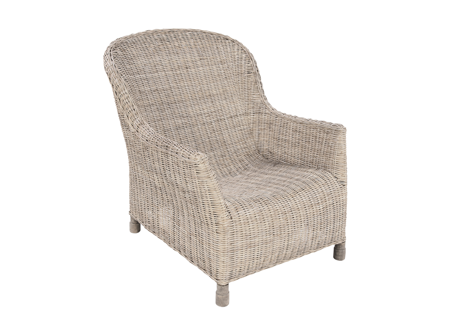 RATTAN GABLE LOUNGE CHAIR – WHITEWASH
