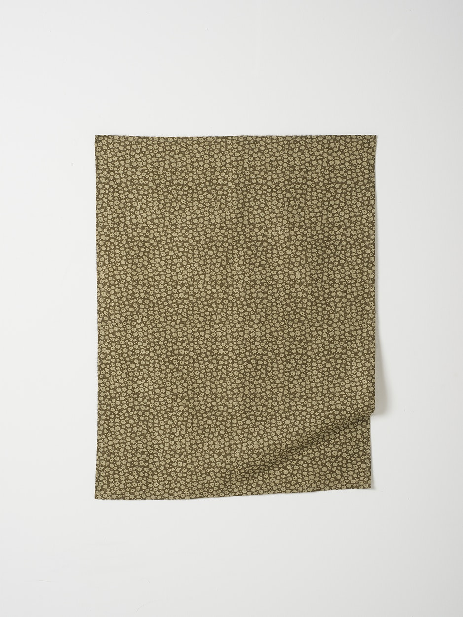 Forget Me Not Linen Blend Tea Towel - Seaweed/Olive