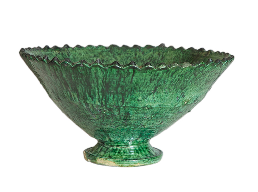 Moroccan green zigzag pedestal bowl - large