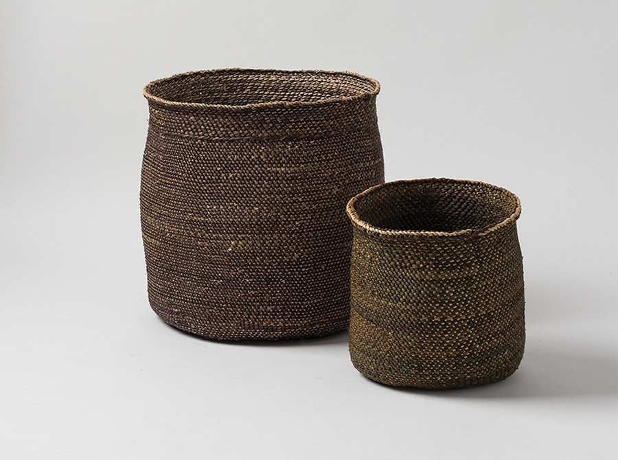 Iringa Woven Baskets - Black/Natural