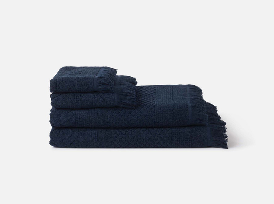 Citta Jacquard Cotton Towel Range - Navy