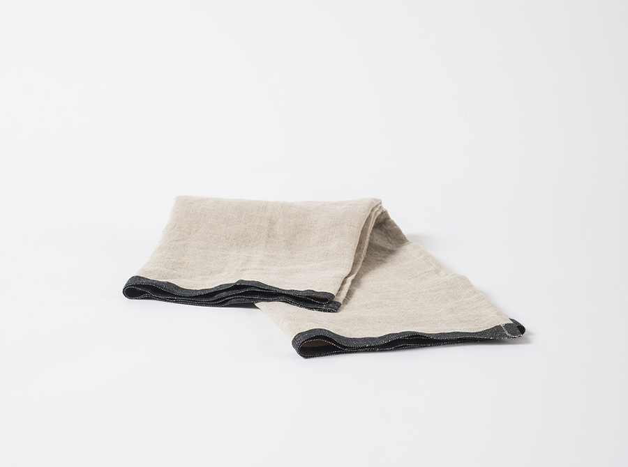 Selvedge Edge Linen Tea Towel - Natural/Black
