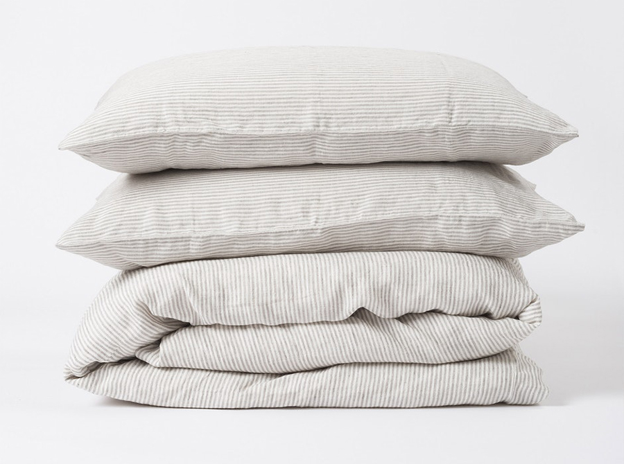 Stripe Linen Euro Pillowcase - Ash/Chalk